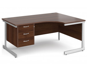 All Walnut C-Leg Right Hand Ergo Desk 3 Drawers