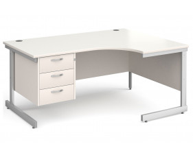 All White C-Leg Right Hand Ergo Desk 3 Drawers