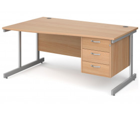 All Beech C-Leg Left Hand Wave Desk 3 Drawers