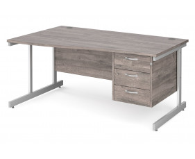 All Grey Oak C-Leg Left Hand Wave Desk 3 Drawers