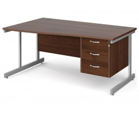 All Walnut C-Leg Left Hand Wave Desk 3 Drawers