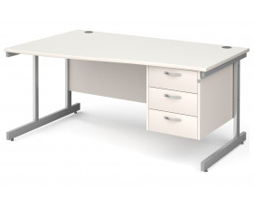 All White C-Leg Left Hand Wave Desk 3 Drawers