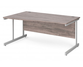 All Grey Oak C-Leg Wave Desk Left