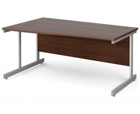 All Walnut C-Leg Wave Desk Left