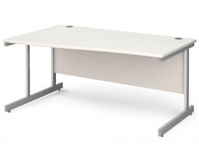 All White C-Leg Wave Desk Left
