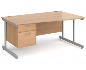 All Beech C-Leg Right Hand Wave Desk 2 Drawers