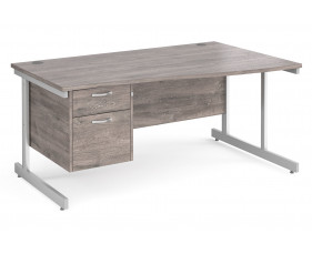All Grey Oak C-Leg Right Hand Wave Desk 2 Drawers