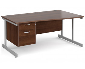 All Walnut C-Leg Right Hand Wave Desk 2 Drawers