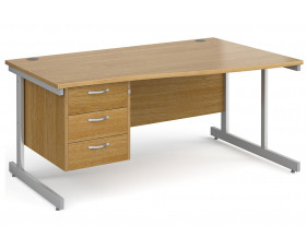 All Oak C-Leg Right Hand Wave Desk 3 Drawers