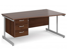 All Walnut C-Leg Right Hand Wave Desk 3 Drawers