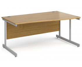 All Oak C-Leg Wave Desk Right