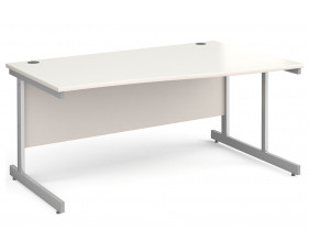 All White C-Leg Wave Desk Right