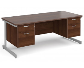 All Walnut C-Leg Executive Desk 2+2 Drawers