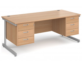 All Beech C-Leg Executive Desk 3+3 Drawers