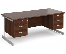 All Walnut C-Leg Executive Desk 3+3 Drawers