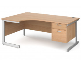 All Beech C-Leg Left Hand Ergo Desk 2 Drawers