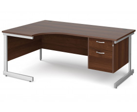 All Walnut C-Leg Left Hand Ergo Desk 2 Drawers