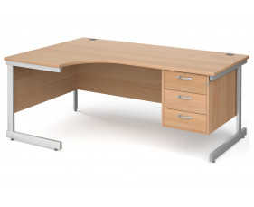 All Beech C-Leg Left Hand Ergo Desk 3 Drawers