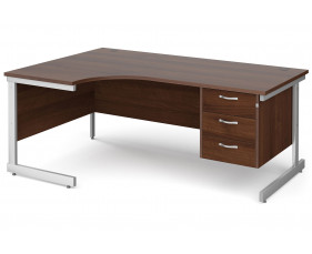 All Walnut C-Leg Left Hand Ergo Desk 3 Drawers