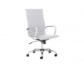 Besos High Back Bonded Leather Executive Chair (White)