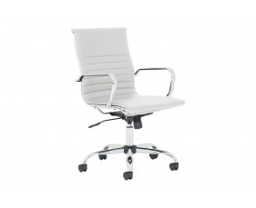 Besos Medium Back Bonded Leather Executive Chair (White)
