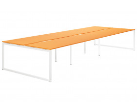Next-Day Campos Hooped Leg 6 Person Back To Back Bench Desk (Orange)
