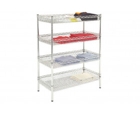 Chrome Wire Basket Shelving With 4 Shelves