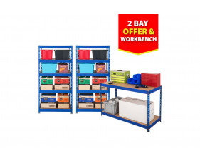 Budget Shelving Bundle Deal With 2 Shelving Bays And 1 Workbench