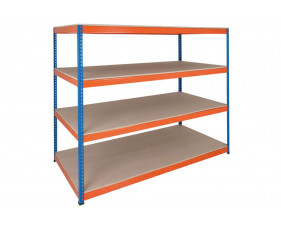 Rapid 1 Heavy Duty Shelving With 4 Chipboard Shelves 2440wx1980h (Blue/Orange)