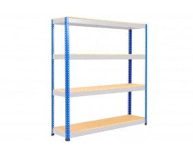 Rapid 1 Standard Shelving With 4 Chipboard Shelves 1525wx1980h (Blue/Grey)