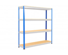 Rapid 1 Standard Shelving With 4 Chipboard Shelves 1525wx2440h (Blue/Grey)