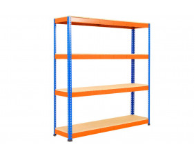 Rapid 1 Standard Shelving With 4 Chipboard Shelves 1525wx2440h (Blue/Orange)
