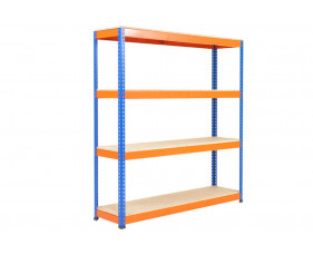 Rapid 1 Standard Shelving With 4 Chipboard Shelves 1830wx2440h (Blue/Orange)