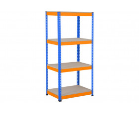 Rapid 1 Heavy Duty Shelving With 4 Chipboard Shelves 915wx1980h (Blue/Orange)