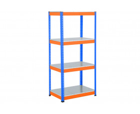 Rapid 1 Heavy Duty Shelving With 4 Galvanized Shelves 915wx1980h (Blue/Orange)