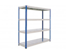 Rapid 1 Heavy Duty Shelving With 4 Galvanized Shelves 1220wx1980h (Blue/Grey)