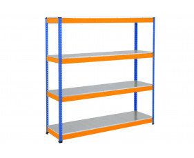 Rapid 1 Heavy Duty Shelving With 4 Galvanized Shelves 1220wx1980h (Blue/Orange)