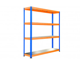 Rapid 1 Heavy Duty Shelving With 4 Galvanized Shelves 1830wx1980h (Blue/Orange)
