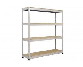 Rapid 1 Heavy Duty Shelving With 4 Chipboard Shelves 1830wx1980h (Grey)