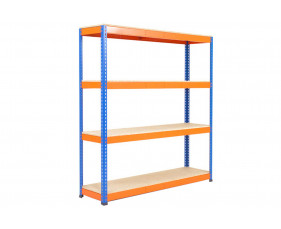 Rapid 1 Heavy Duty Shelving With 4 Chipboard Shelves 1830wx1980h (Blue/Orange)
