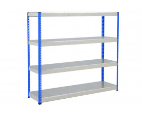 Rapid 1 Heavy Duty Shelving With 4 Galvanized Shelves 2134wx1980h (Blue/Grey)