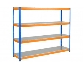 Rapid 1 Heavy Duty Shelving With 4 Galvanized Shelves 2440wx1980h (Blue/Orange)