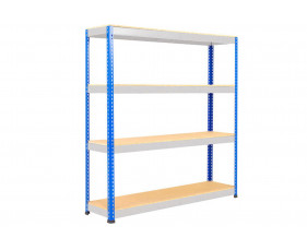 Rapid 1 Heavy Duty Shelving With 4 Chipboard Shelves 1525wx2440h (Blue/Grey)