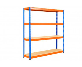 Rapid 1 Heavy Duty Shelving With 4 Chipboard Shelves 1525wx2440h (Blue/Orange)