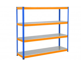 Rapid 1 Heavy Duty Shelving With 4 Galvanized Shelves 1525wx2440h (Blue/Orange)