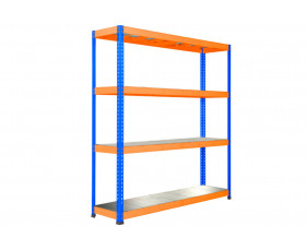 Rapid 1 Heavy Duty Shelving With 4 Galvanized Shelves 1830wx2440h (Blue/Orange)