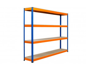 Rapid 1 Heavy Duty Shelving With 4 Chipboard Shelves 2440wx2440h (Blue/Orange)