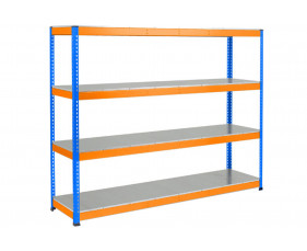 Rapid 1 Heavy Duty Shelving With 4 Galvanized Shelves 2440wx2440h (Blue/Orange)