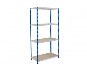 Rapid 2 Shelving With 4 Chipboard Shelves 915wx1600h (Blue/Grey)