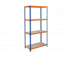 Rapid 2 Shelving With 4 Chipboard Shelves 915wx1600h (Blue/Orange)